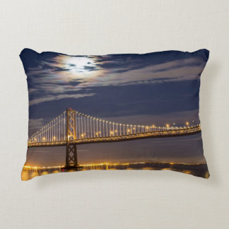 The moonrise tonight over the Bay Bridge Accent Pillow