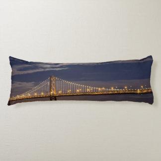 The moonrise tonight over the Bay Bridge Body Pillow