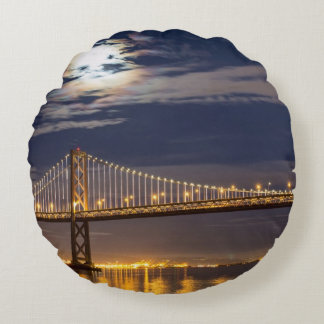 The moonrise tonight over the Bay Bridge Round Pillow