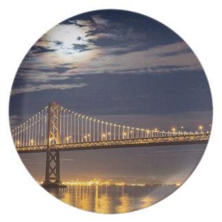 The moonrise tonight over the Bay Bridge Melamine Plate