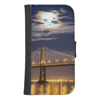 The moonrise tonight over the Bay Bridge Phone Wallet Case