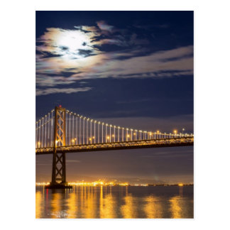 The moonrise tonight over the Bay Bridge Postcard