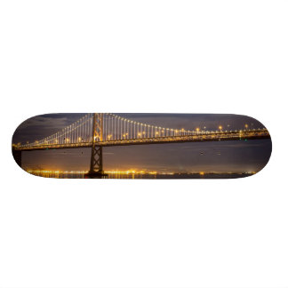 The moonrise tonight over the Bay Bridge Skateboard Deck