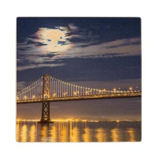 The moonrise tonight over the Bay Bridge Wood Coaster