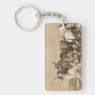 The moors fighting the bull with lances José Goy Keychain
