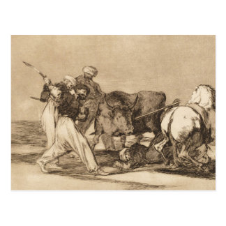 The moors fighting the bull with lances José Goy Postcard