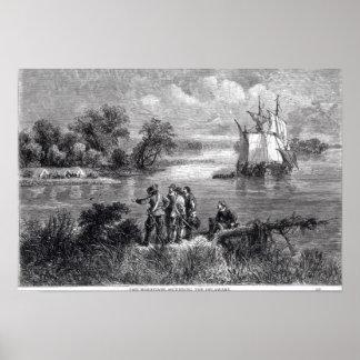 The Moravians Ascending the Delaware Poster