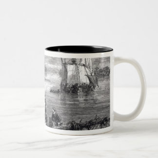 The Moravians Ascending the Delaware Two-Tone Coffee Mug
