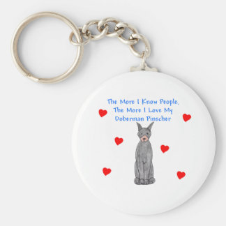 The More I Know People Doberman Pinscher Black Keychain