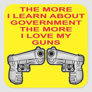 The More I Learn About Government The More I Love Square Sticker