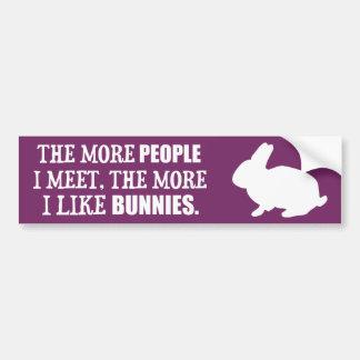 The More I Like Bunnies Car Bumper Sticker