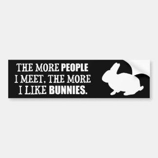The More I Like Bunnies Bumper Sticker