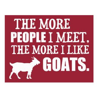 The More I Like Goats Postcard