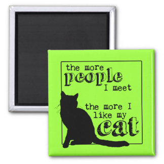 The More I Like My Cat - All Colors 2 Inch Square Magnet