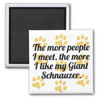 The More I Like My Giant Schnauzer 2 Inch Square Magnet