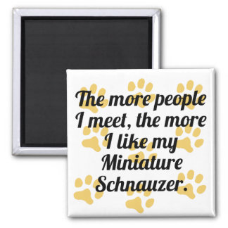 The More I Like My Miniature Schnauzer 2 Inch Square Magnet