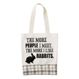The More I Like Rabbits Zazzle HEART Tote Bag