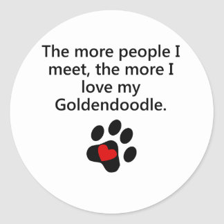 The More I Love My Goldendoodle Classic Round Sticker
