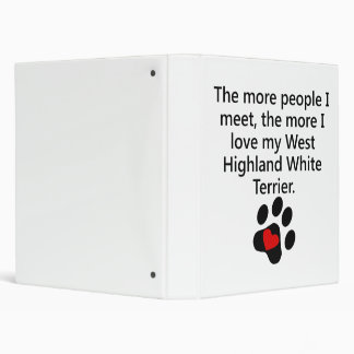 The More I Love My West Highland White Terrier 3 Ring Binder