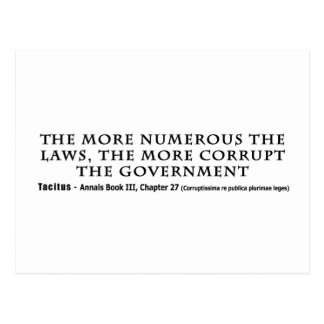 The More Numerous Laws The More corrupt Government Postcard