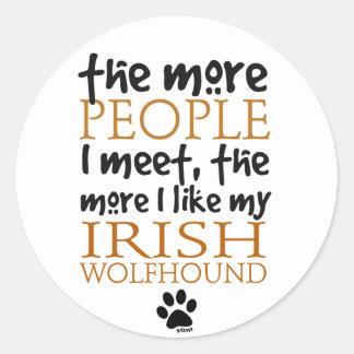 The More People I Meet ... Irish Wolfhound Classic Round Sticker