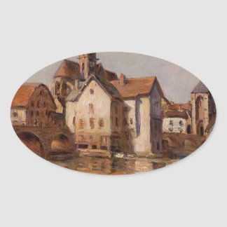 The Moret Bridge by Alfred Sisley Oval Sticker