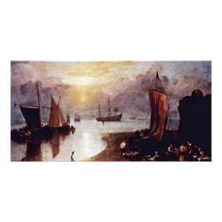 The Morning Mist Rising Sun Fishermen Cleaning And Photo Card Template