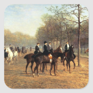The Morning Ride, Rotten Row, Hyde Park, 1894 (oil Square Sticker