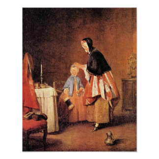 The morning toilet by Jean Chardin Print