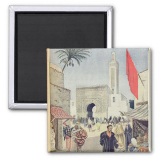 The Moroccan Pavilion at the Universal Exhibition 2 Inch Square Magnet