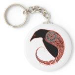 The Morrigan Celtic Raven Keychain, White Keychain