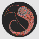 The Morrigan Celtic Raven Stickers, Black Classic Round Sticker