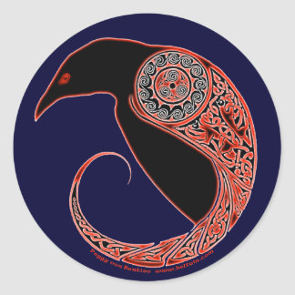 The Morrigan Celtic Raven Stickers, Blue Classic Round Sticker