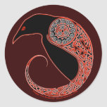 The Morrigan Celtic Raven Stickers, Brown Classic Round Sticker