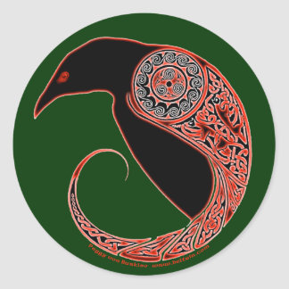 The Morrigan Celtic Raven Stickers, Green Classic Round Sticker