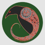The Morrigan Celtic Raven Stickers, Green Classic Round Sticker