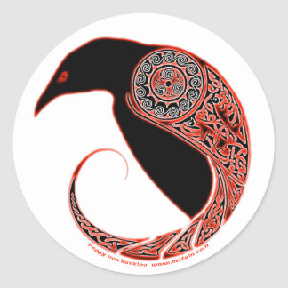 The Morrigan Celtic Raven Stickers, White Classic Round Sticker