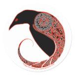 The Morrigan Celtic Raven Stickers, White Classic Round Sticker