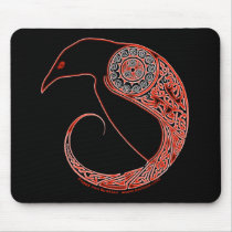The Morrigan Raven Celtic mousepad in black
