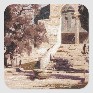 The Mosque of Omar. Haram el-Sharif. by Vasily Square Sticker