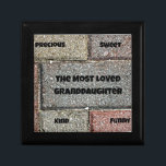 "The Most Loved Granddaughter Keepsake Box<br><div class=""desc"">Unique bricks with words: &quot;The Most Loved Granddaughter&quot; on one and words that describe a special Granddaughter on the other bricks.  Great for that &quot;Most Loved&quot; Granddaughter.</div>"