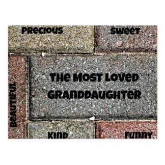The Most Loved Granddaughter Postcard