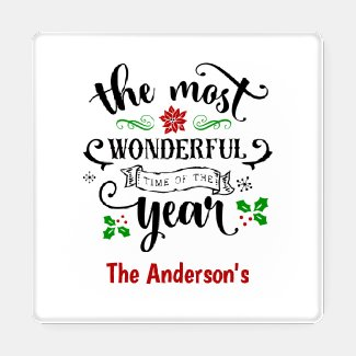 The Most Wonderful Time of the Year Christmas Coaster Set