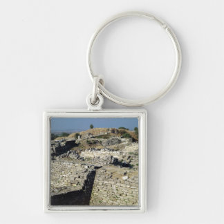 The Mound of Hissarlik, the site of Silver-Colored Square Keychain