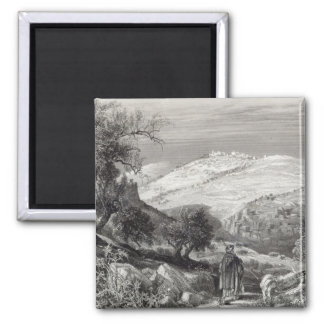 The Mount of Olives, from Mount Zion 2 Inch Square Magnet