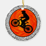 THE MOUNTAIN BIKERS Double-Sided CERAMIC ROUND CHRISTMAS ORNAMENT