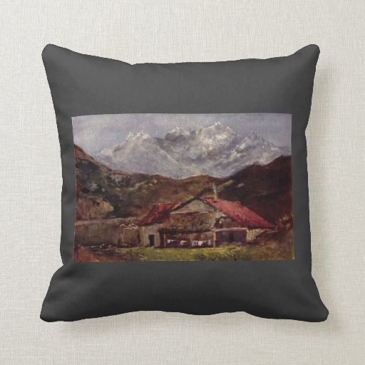 The Mountain Hut by Gustave Courbet Pillow