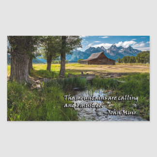 The mountains are calling and I must go - Muir Rectangular Sticker