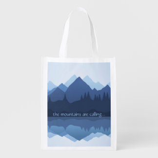 The Mountains are Calling...Design Reusable Tote Grocery Bag