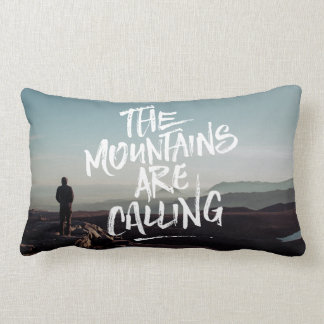 The Mountains Are Calling Lettering Photo Template Lumbar Pillow